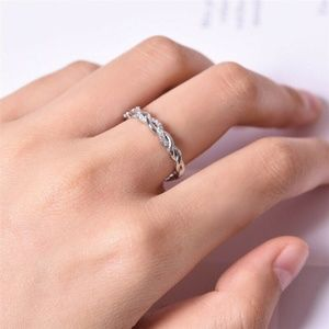 NWOT White Topaz 925 Sterling Silver Ring, sz 5.5